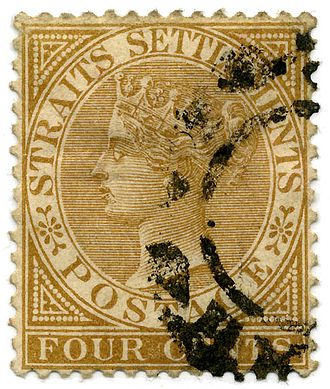 British Malaya - Postage stamp of the Straits Settlements from 1883.