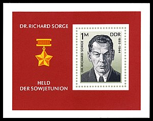 Richard Sorge - GDR postage stamp commemorating Richard Sorge