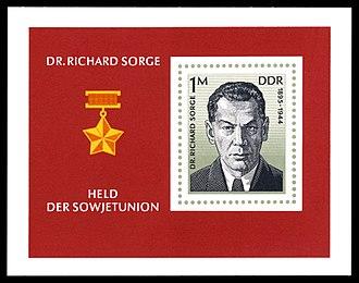 Richard Sorge - GDR postage stamp commemorating Richard Sorge