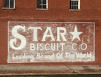 Ghost sign of a fictional company left from a previous film production. Star Biscuit Sign Stone Mountain.jpg