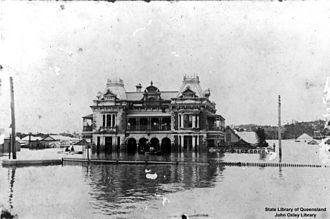 Breakfast Creek - Image: State Lib Qld 1 109132 Flood waters at the Breakfast Creek Hotel, Brisbane, 1893