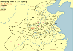 Map of states in Zhou dynasty including Zheng