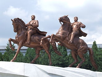 Day of the Shining Star - Equestrian statue with Kim Jong-il (right) and Kim Il-sung, revealed on the Day of the Shining Star