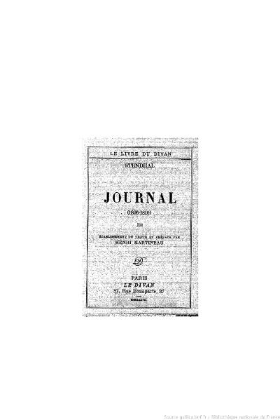 File:Stendhal - Journal, III, 1937, éd. Martineau.djvu