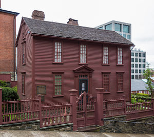 College Hill, Providence, Rhode Island - Governor Stephen Hopkins House, built 1708, home of Brown's first chancellor. The house is adjacent to the campus on colonial-era Benefit Street, and near Brown's School of Public Health, visible on the right of the photo