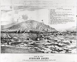 Lithograph of proposed capstans on Stepper Point