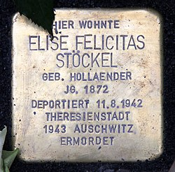 Photo of Elise Felicitas Stöckel brass plaque