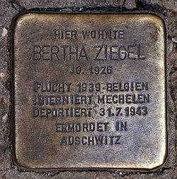 Photo of Bertha Ziegel brass plaque