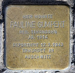 Photo of Pauline Gumpert brass plaque