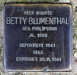 Photo of Betty Blumenthal brass plaque