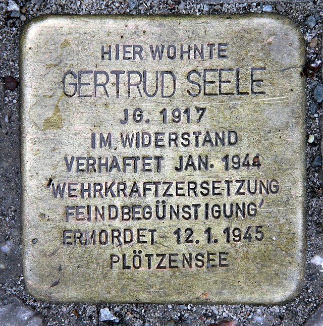 Photo of Gertrud Seele brass plaque