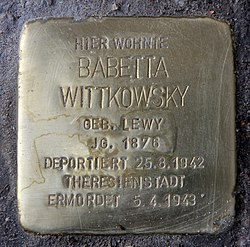 Photo of Babette Wittkowsky brass plaque