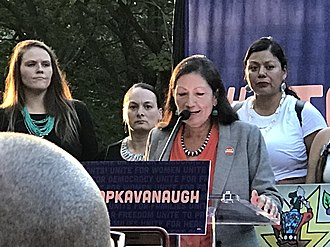 Brett Kavanaugh Supreme Court nomination - Deb Haaland and Native American women at Stop Kavanaugh Rally on US Capitol Grounds, September 4, 2018