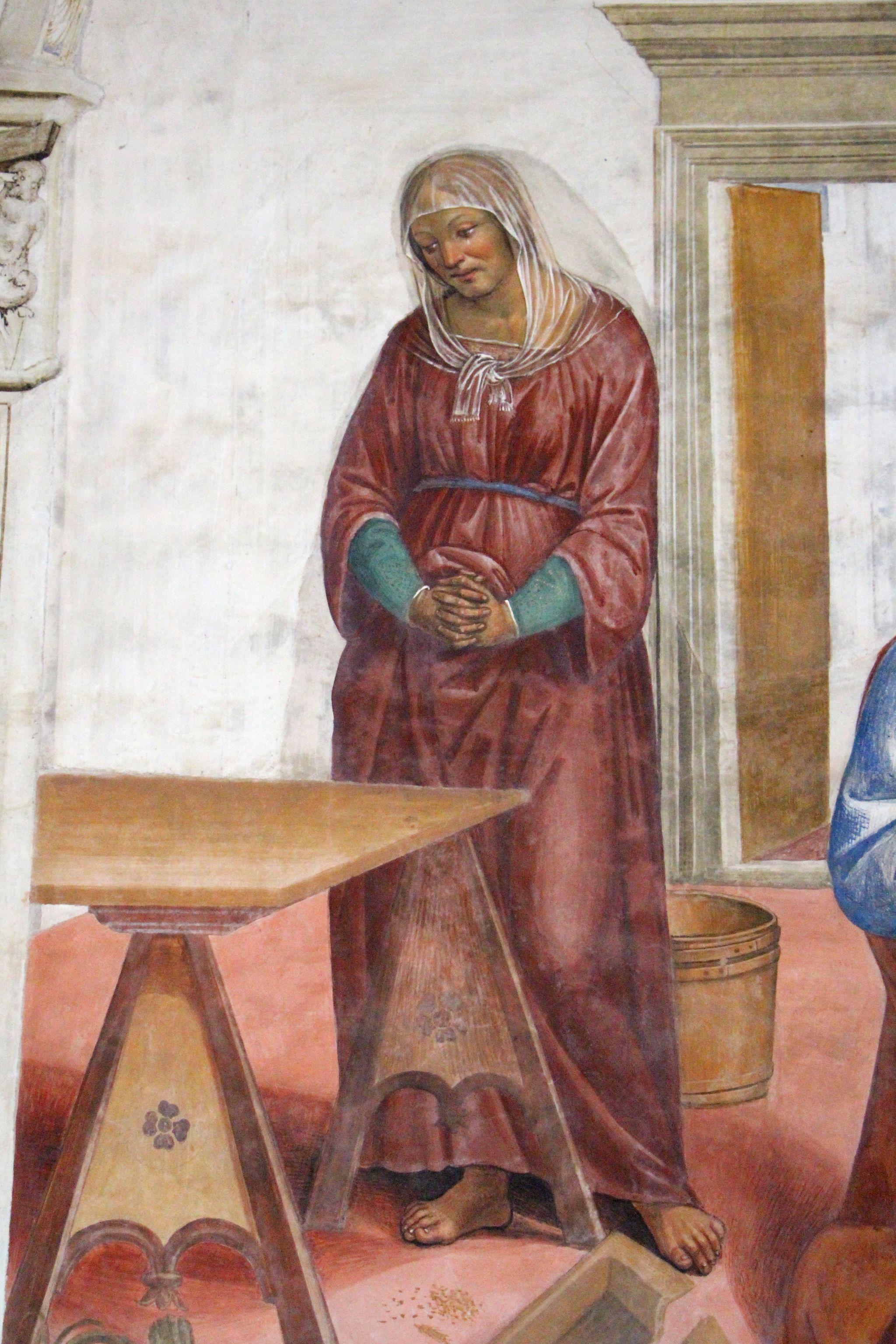 Come Benedetto risalda lo capistero che s'era rotto (particolare) | Chiostro grande del monastero di Monte Oliveto Maggiore