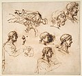 Studies of a Man's Head in Profile, and of a Standing Male Figure MET DP811516.jpg