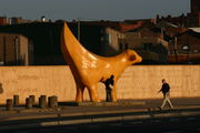 SuperLambBanana, a well-known sculpture in the Albert Dock area, recently relocated to Tithebarn Street