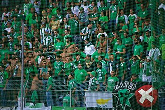 AC Omonia - Omonia fans at an away match against FC Red Bull Salzburg