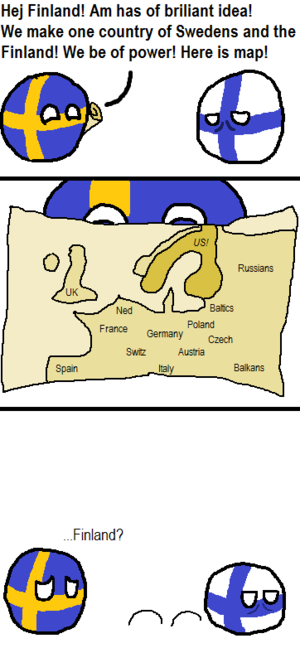 Polandball - A Polandball comic which satirises Sweden–Finland.