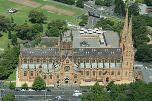 St Mary's Cathedral, Sydney - View from the Sydney Tower