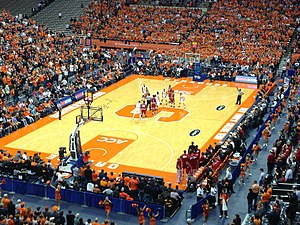 2013–14 Syracuse Orange men's basketball team - Syracuse and Indiana prepare for the opening tip on December 3, 2013.  Rakeem Christmas, DaJuan Coleman, Trevor Cooney, Tyler Ennis and C.J. Fair started for the Orange.
