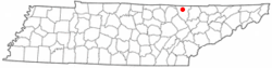 Location of Oneida, Tennessee