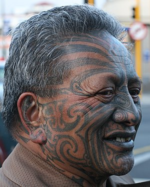 English: This is a head shot of Tame Iti taken...
