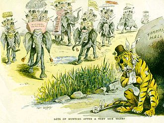 "Tammany Hall - Puck cartoon by Frederick Burr Opper: ""Lots of hunters after a very sick tiger"" (1893)"