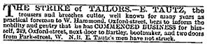 E. Tautz & Sons - Advertisement. The Times, May 14, 1867.