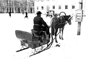 English: A horse-drawn taxi sleigh in Vaasa in...