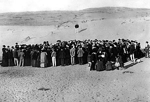 History of Zionism - Tel Aviv was founded on empty dunes, purchased from Arabs, north of the existing city of Jaffa. This photograph is of the auction of the first lots in 1909.