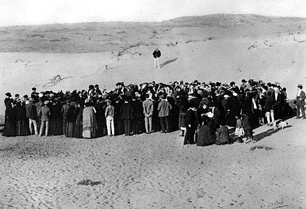 Tel Aviv was founded on land purchased from Bedouins north of Jaffa. This is the 1909 auction of the first lots. - History of Palestine