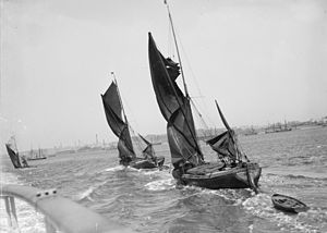 Northfleet - Thames sailing barges off Northfleet, 1898.