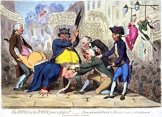 Sir Cecil Wray, 13th Baronet - The Hopes of the Party, 1791 by James Gillray. Wray is on the right with Joseph Priestley and Richard Brinsley Sheridan, who, together with John Horne Tooke, hold George III so that Charles James Fox can behead him. The print satirised the favourable views those depicted had towards the French Revolution.