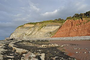 Large normal fault in Triassic to Lower Jurass...