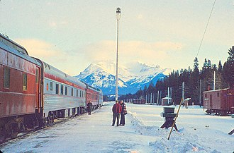 The Dominion (train) - The Dominion at Banff railway station in 1959.
