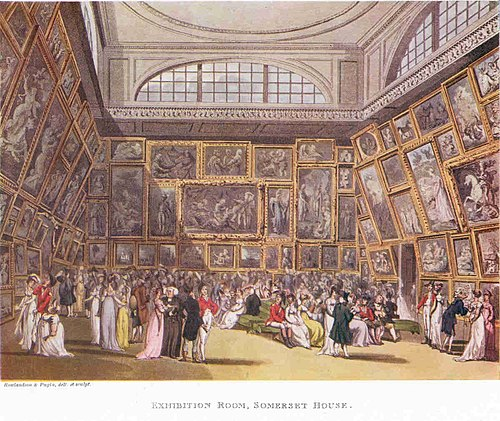 Pugin's Exhibition Room, Somerset House, showing a room which is now part of the Courtauld Gallery The Exhibition Room at Somerset House by Thomas Rowlandson and Augustus Pugin. 1800..jpg
