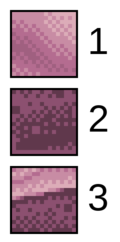 Details from The Gunk. 1. The basic form of dithering, using two colors in a 2×2 checkerboard pattern. 2. Stylized dithering with 2×2 pixel squares randomly scattered. 3. Anti-aliasing can be done, by hand, to smooth curves and transitions.