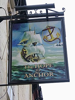 The Hope and Anchor pub sign, 18 New Street - geograph.org.uk - 1599809