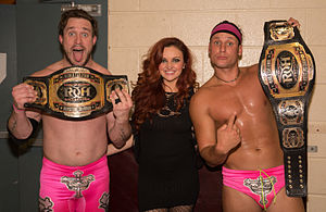 ROH World Tag Team Championship - The Kingdom, with the title belts in October 2015