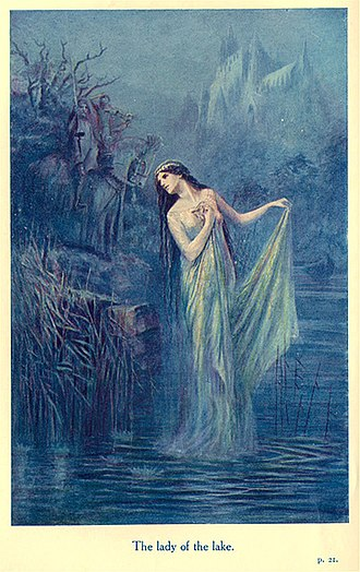 Lady of the Lake - The Lady of the Lake in Lancelot Speed's illustration for James Thomas Knowles' The Legends of King Arthur and His Knights (1912)