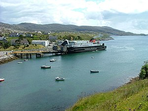 Tarbert, Harris - Image: The MV Hebrides at Tarbert pier (geograph 2493392)