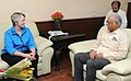 The Mayor of Houston, Texas, USA, Ms. Annise D. Parker meeting the Union Minister for Civil Aviation, Shri Ashok Gajapathi Raju Pusapati, in New Delhi on April 23, 2015.jpg