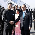 The President of Myanmar, Mr. Tien Sein being received by the Minister of State for Human Resource Development, Shri Jitin Prasada, on his arrival at the Air Force Station, Palam, in New Delhi on December 20, 2012.jpg