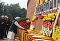 The Prime Minister, Dr. Manmohan Singh paying floral tributes to the martyrs of the Parliament attack, in New Delhi on December 13, 2009.jpg