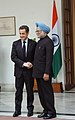 The Prime Minister, Dr. Manmohan Singh shaking hand with the President of France, Mr. Nicolas Sarkozy, in New Delhi on January 25, 2008.jpg