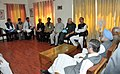 The Prime Minister, Dr Manmohan Singh meeting the dissect administration officers to review the relief operations and rehabilitation works in the flood affected in Leh, Jammu & Kashmir on August 17, 2010.jpg