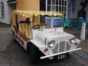 Internet Movie Cars Database - Mini Moke from the TV series The Prisoner in Portmeirion, Gwynedd Wales