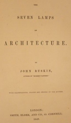 The Seven Lamps of Architecture - Title page of the first edition