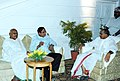The Union Minister for Finance Shri P. Chidambaram inviting in conversation with the Chief Minister of Andhra Pradesh, Dr. Y.S. Rajasekhar Reddy at a dinner hosted by him at Falaknuma Palace, in Hyderabad on May 5, 2006.jpg