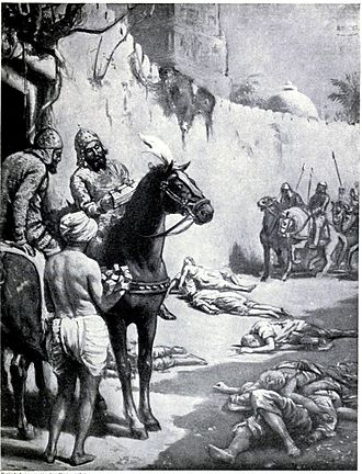 Decline of Buddhism in the Indian subcontinent - The image, in the chapter on India in Hutchison's Story of the Nations edited by James Meston, depicts the Muslim Turkic general Muhammad Bakhtiyar Khilji's massacre of Buddhist monks in Bihar. Khaliji destroyed the Nalanda and Vikramshila universities during his raids across North Indian plains, massacring many Buddhist and Brahmin scholars.